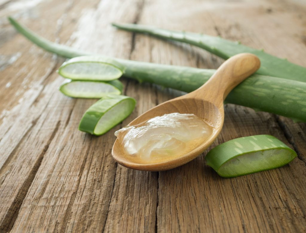 48119451 - aloe vera gel on wooden spoon with aloe vera on wooden table