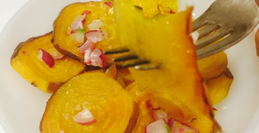 Roasted Yellow Beets with Radish Confetti