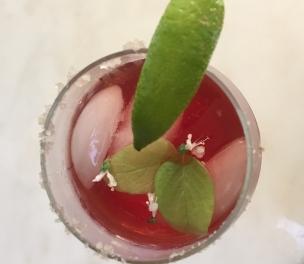 Kombucha Mock-a-Ritas with Lime and Basil Flowers