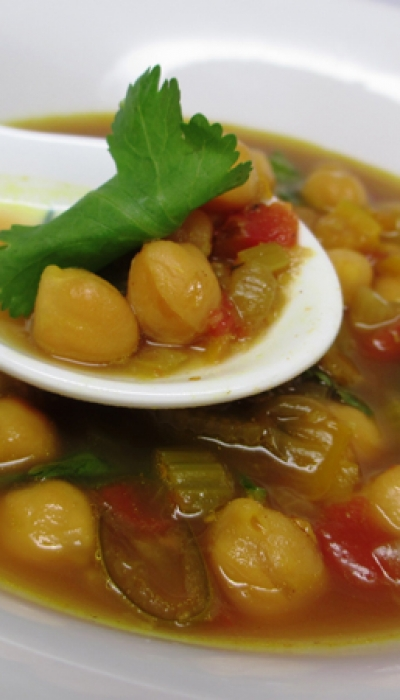 Moroccan Chickpea Soup with Leafy Greens