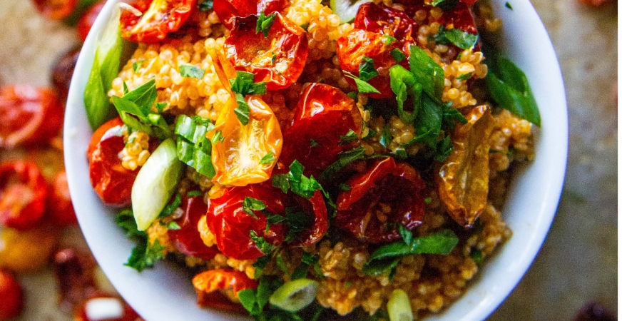 Quinoa with Oven-Dried Tomatoes and Smoky Tomato Vinaigrette