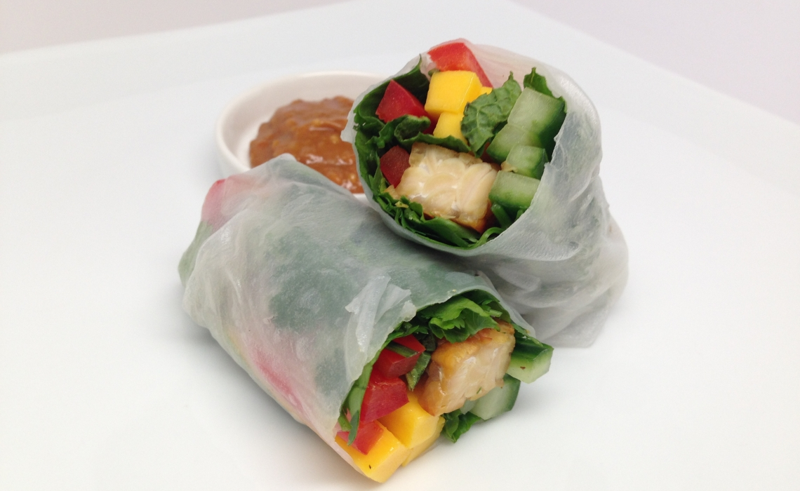 Summer Rolls with Tempeh, Mango, and Mint + Ginger Almond Dipping Sauce